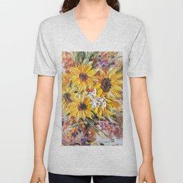 Sun Flowers, Sun Flower, Yellow Flowers, Bouquet of Flowers Unisex V-Neck