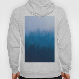 Blue Mountain Pine Trees Blue Ombre Gradient Colorful Landscape photo Hoody