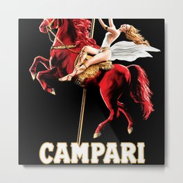 Vintage Campari Italian Bitters Woman and Red Horse Advertisement Metal Print