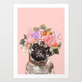 Pug with Flower Crown Art Print