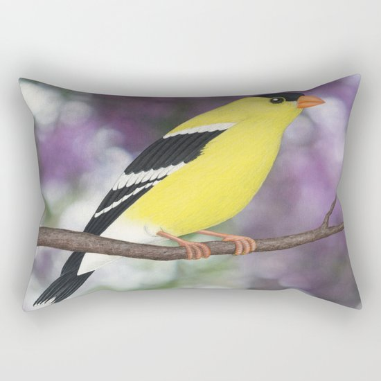 American goldfinch male bokeh Rectangular Pillow