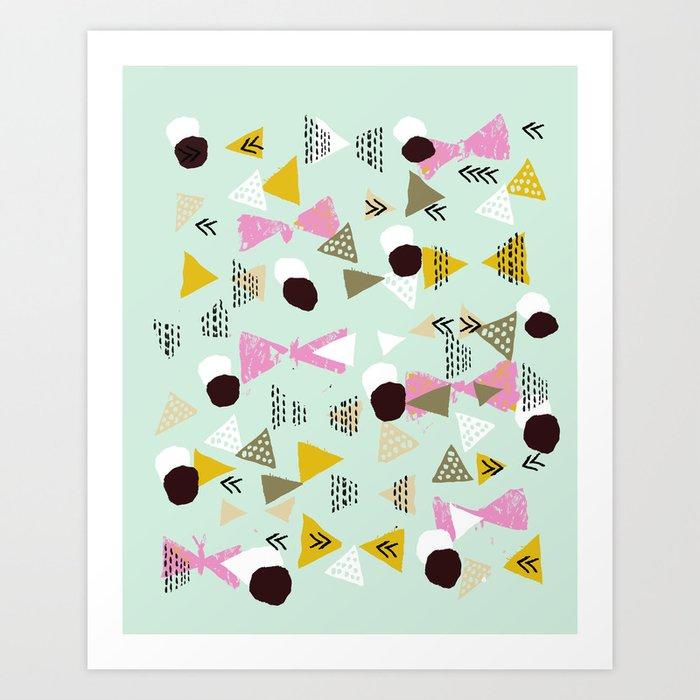 Ralea - abstract design triangle geometric circle print texture dots mid century modern graphic  Art Print