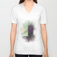 bridge V-neck T-shirts featuring Bridge by Nechifor Ionut