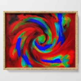 Red Blue Green Fireball Sky Explosion Serving Tray