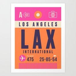Retro Airline Luggage Tag - LAX Los Angeles Art Print