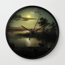 Classical Masterpiece 'Evening Scene with Full Moon & Persons' by Abraham Pether Wall Clock