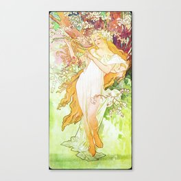 Alphonse Mucha Spring Floral Vintage Art Nouveau Canvas Print