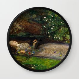 Ophelia from Hamlet Oil Painting by Sir John Everett Millais Wall Clock