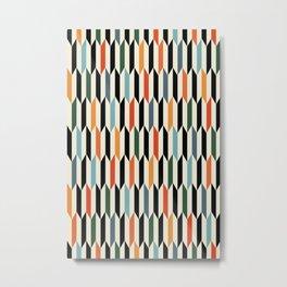 MCC Oddities III - Mid Century Modern Geometric Abstract Pattern - Red Orange Blue Green Black Metal Print