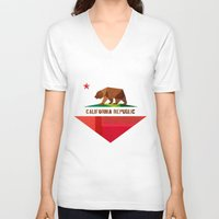 leather V-neck T-shirts featuring California by Fimbis