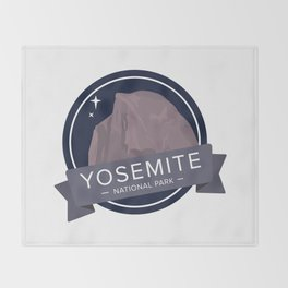 Yosemite National Park Graphic Badge Throw Blanket
