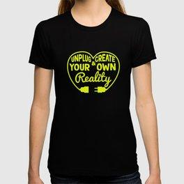 Funny Sarcastic Novelty Unplug Tshirt Design Unplug and create T-shirt