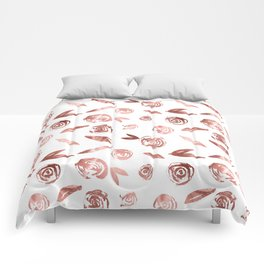 Rose Gold Roses Rosette Pattern Pink on White Comforters