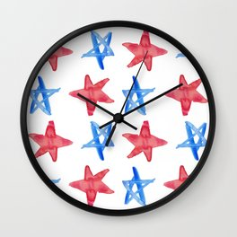 Red and Blue Stars Wall Clock