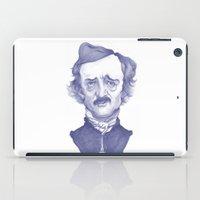 edgar allan poe iPad Cases featuring Edgar Allan Poe illustration by Stavros Damos
