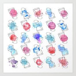 A toilet has no gender, nor does color. Art Print