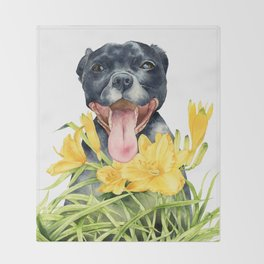 Joy | Pit Bull Dog and Daylily Watercolor Painting Throw Blanket