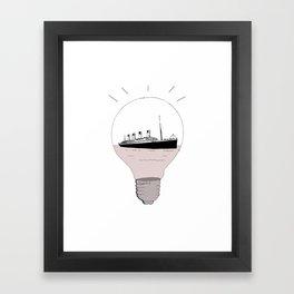 Ship in a light bulb. Home decor Graphicdesign Framed Art Print