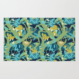 North American Forest Pattern (Greens) Rug