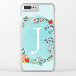 Personalized Monogram Initial Letter J Blue Watercolor Flower Wreath Artwork Clear iPhone Case