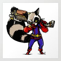 rocket raccoon Art Prints featuring Rocket Raccoon by Action Kazimer