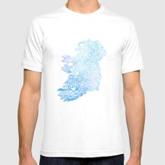 Typographic Ireland - Blue Watercolor White Mens Fitted Tee MEDIUM