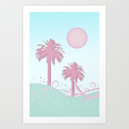 Surfer Wave And Palm Trees In Candy Colors Art Print