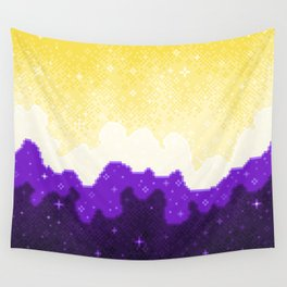 Nonbinary Pride Flag Galaxy Wall Tapestry