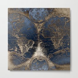 World Map Deep Blue and Gold Metal Print