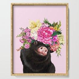 Flower Crown Black Baby Pig in Pink Serving Tray