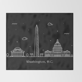 Washington D.C. Minimal Nightscape / Skyline Drawing Throw Blanket