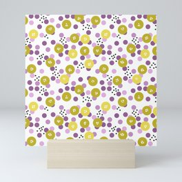 Yellow and pink polka dots on a black background . Mini Art Print