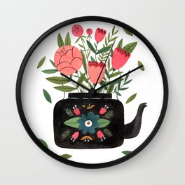 Floral Kettle Wall Clock