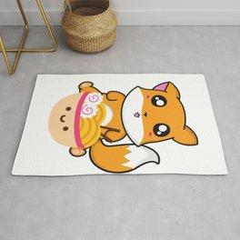 Cute Fox with Ramen Rug