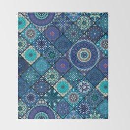 Vintage patchwork with floral mandala elements Throw Blanket