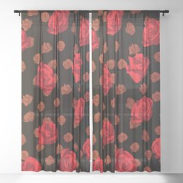 dark roses Sheer Curtain