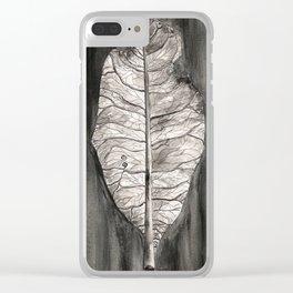 Semicolon Watercolor Leaf Clear iPhone Case