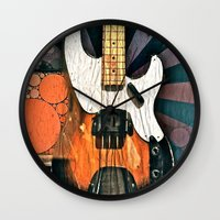 bass Wall Clocks featuring Elvis' Bass by ADH Graphic Design