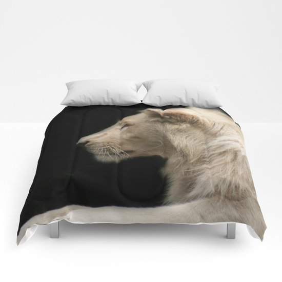 Young white lion Comforters