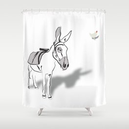 Hen and Donkey Shower Curtain