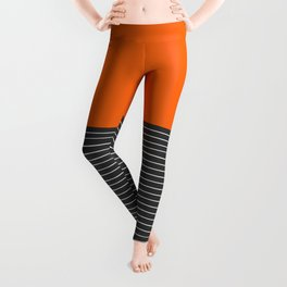 Half thin striped orange Leggings