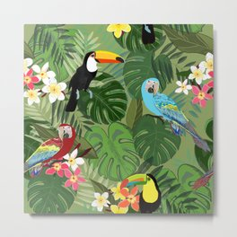 Parrots and Toucan Tropical Birds Tropical Forest Pattern Metal Print