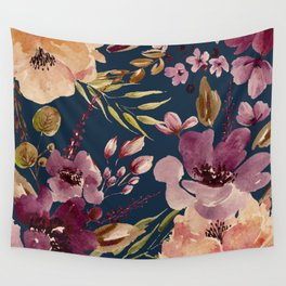 Watercolor Giant flowers fall colors Wall Tapestry