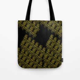 Metal Lace - golden yellow on black Tote Bag