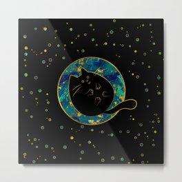 Funny Black Chubby Cat Metal Print