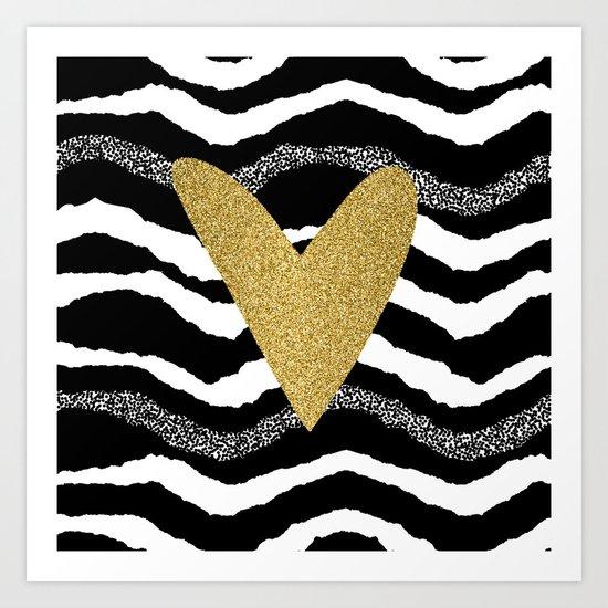 Heart on waves Art Print