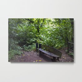 Wood Bench in the Middle of the Rainforest on the Mombacho Volcano in Nicaragua Metal Print