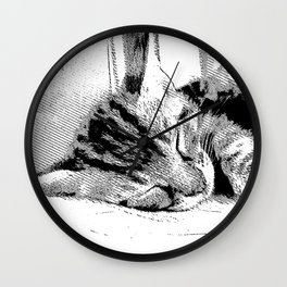 Sleepy Kitten Wall Clock