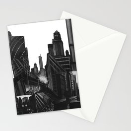 Longing in the City, charcoal on illustration board Stationery Cards