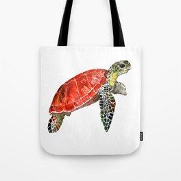 Sea Turtle red green turtle design, trutle illustration Tote Bag